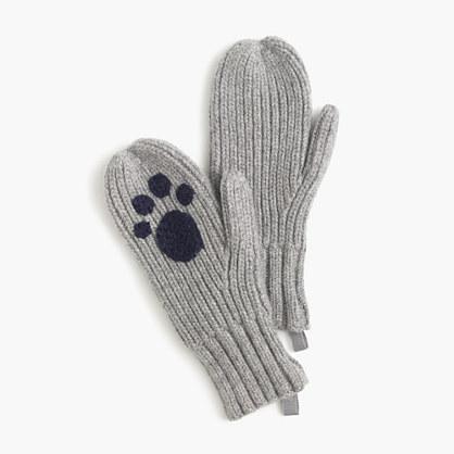 Girls' ribbed kitty cat mittens