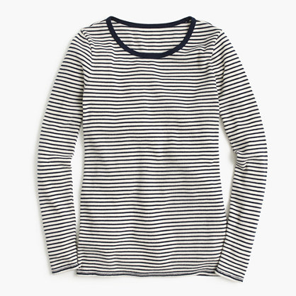 Waffle navy striped long-sleeve crewneck T-shirt