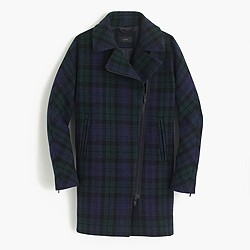 Petite zippered coat in Black Watch tartan