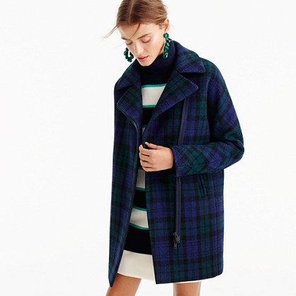 Petite zippered coat in Black Watch tartan