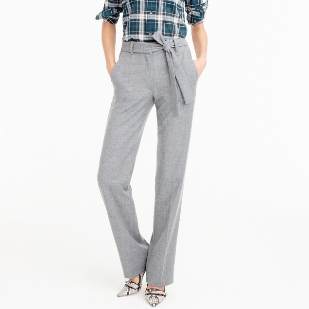 Petite full-length pant in wool flannel with tie