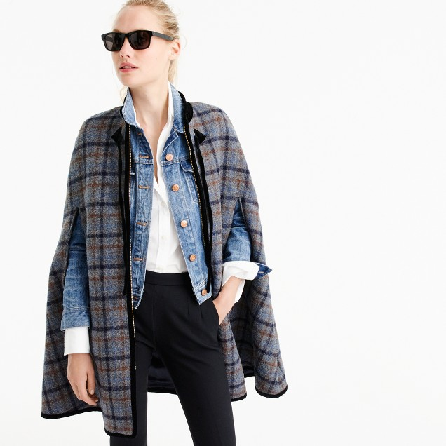 Collection zip cape in tartan