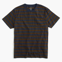 Slub cotton T-shirt in blue and brown stripe