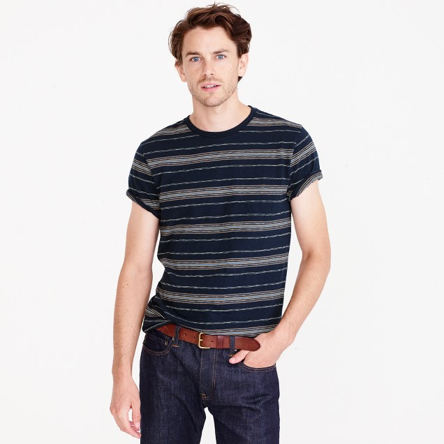 Slub cotton T-shirt in blue multistripe