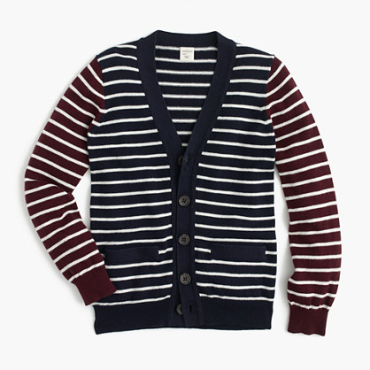 Boys' cotton-cashmere mash-up cardigan sweater