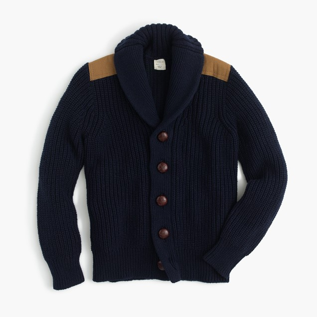 Boys' shawl-collar cotton cardigan sweater with shoulder patches
