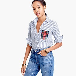 Tall striped boy shirt with tartan pocket