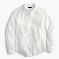 Petite tuxedo shirt with ruffles