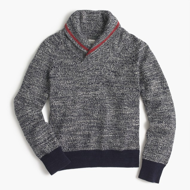 Boys' shawl-collar speckled cotton sweater