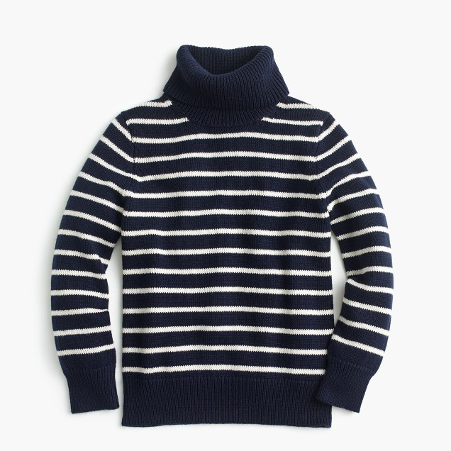 Boys' striped cotton turtleneck sweater