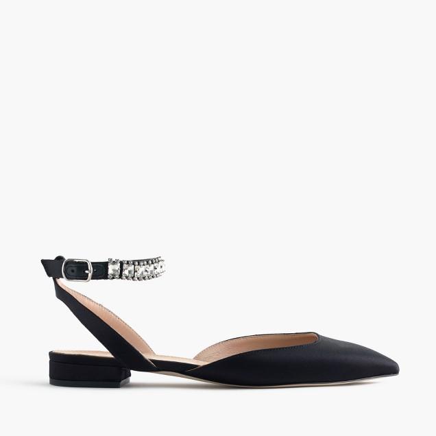 Satin jeweled ankle-strap flats