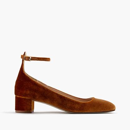 Velvet ankle-strap heels