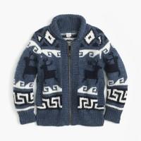 Boys' wool shawl zip cardigan sweater