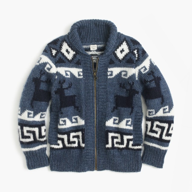 Boys' wool shawl zip cardigan sweater