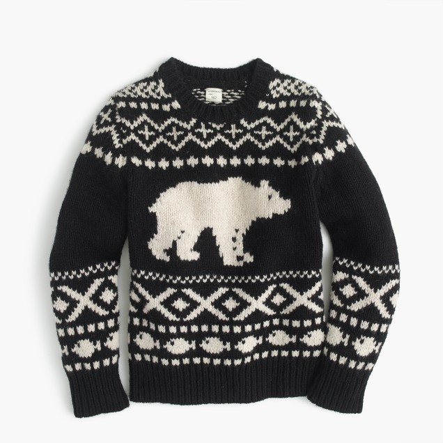 Boys' polar bear Fair Isle crewneck sweater