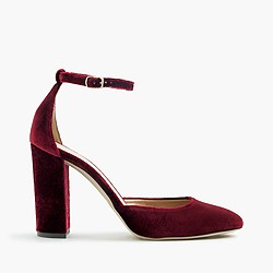 Lena ankle-strap pumps in velvet