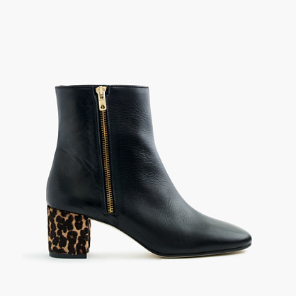 Leather side-zip ankle boots with calf hair heels