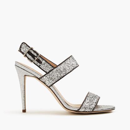 Glitter double-strap sandals
