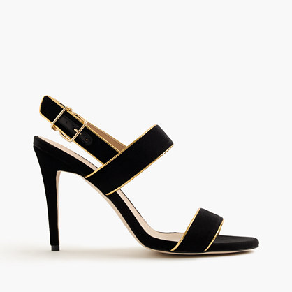 Piped velvet double-strap sandals