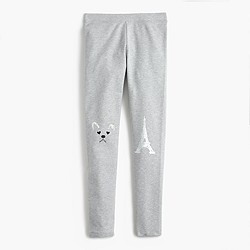 Girls' everyday leggings with Frenchie knee patches