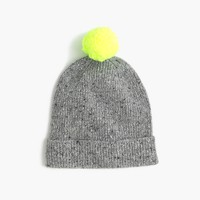 Kids' speckled Donegal wool beanie hat