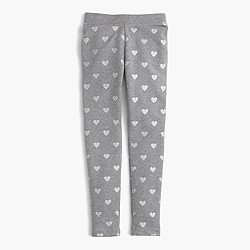 Girls' cozy everyday leggings in glitter hearts