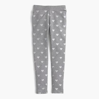 Girls' cozy everyday leggings in glitter hearts