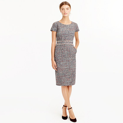 Petite shift dress in multicolored tweed