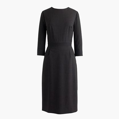 Petite bracelet-sleeve dress in Italian stretch wool