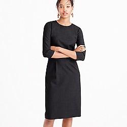 Bracelet-sleeve dress in Italian stretch wool