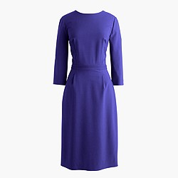Tall bracelet-sleeve dress in Italian stretch wool