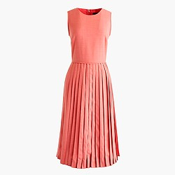 Tall pleated A-line dress in Super 120s wool