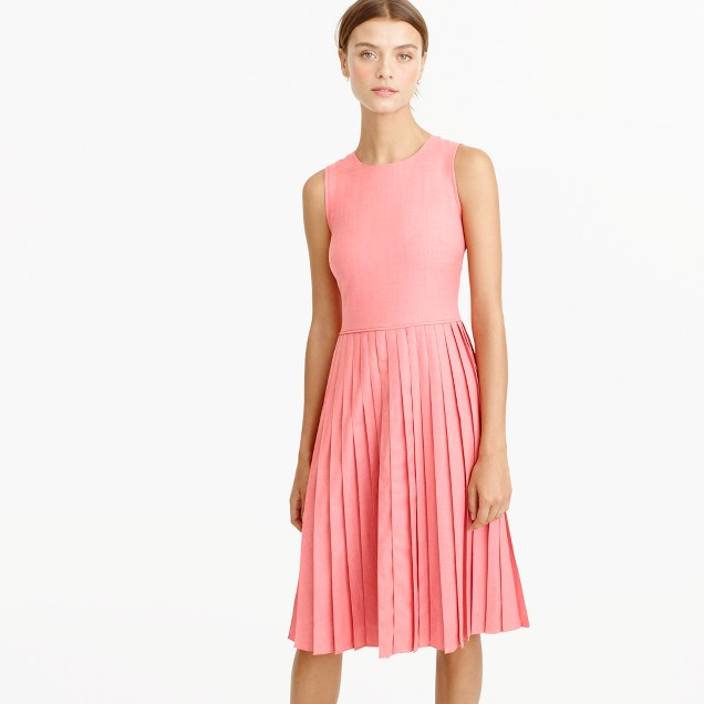 Petite pleated A-line dress in Super 120s wool