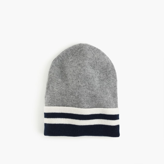 Kids' striped cashmere beanie hat