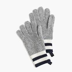 Kids' striped cashmere gloves