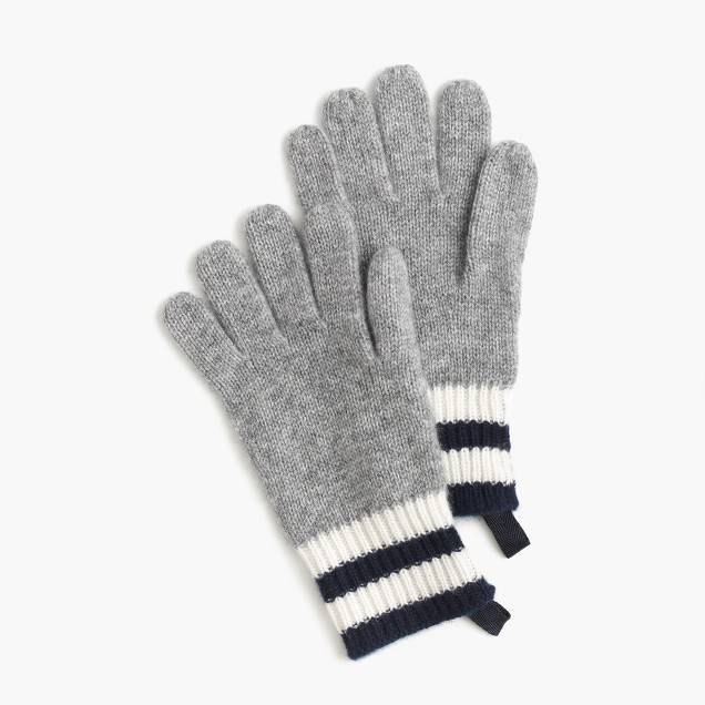 Kids' striped cashmere gloves