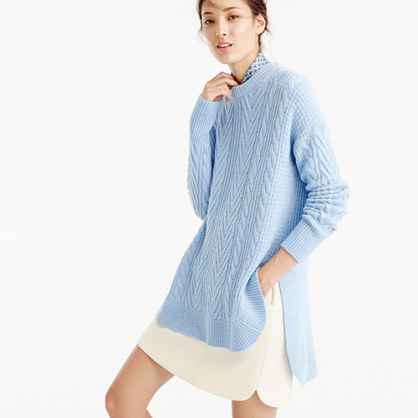 Tunic cable-knit sweater