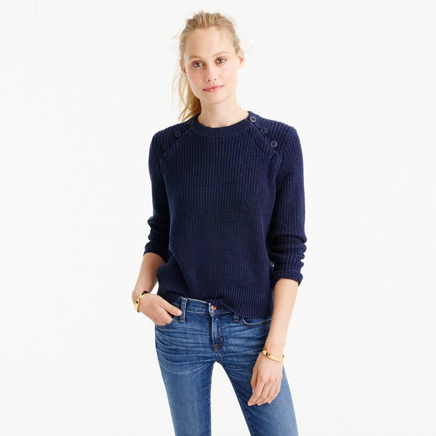 Textured cotton sweater with anchor buttons