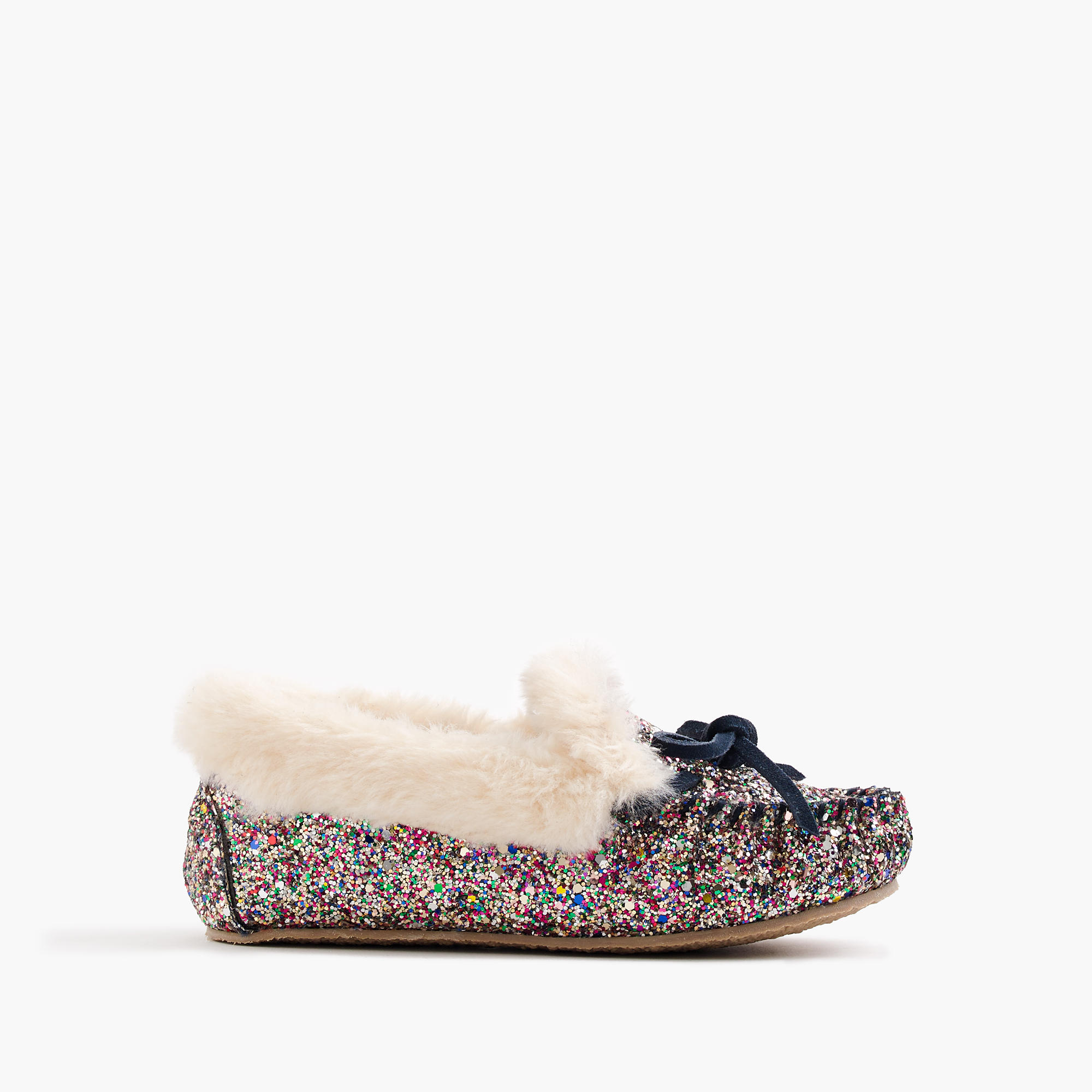Girls 39 glitter shearling lodge moccasins girls 39 slippers for J crew bedroom slippers