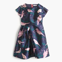 Girls' side-gather dress in magpie print