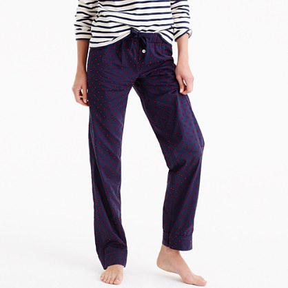 Petite pajama pant with velvet dots