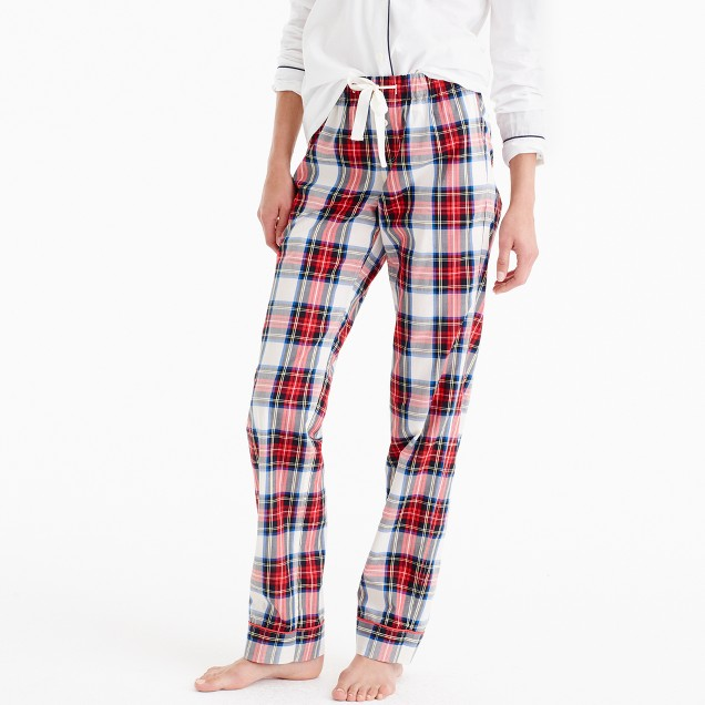 Petite pajama pant in festive plaid cotton poplin