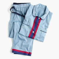 Chambray pajama set with grosgrain trim