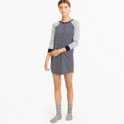 Knit nightshirt in mixed stripe
