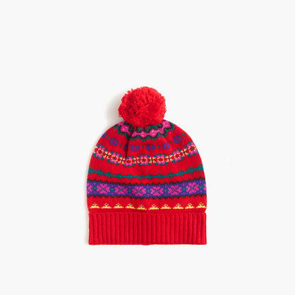 Girls' Fair Isle beanie hat