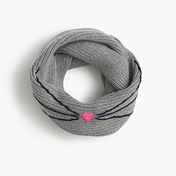 Girls' ribbed cat infinity scarf