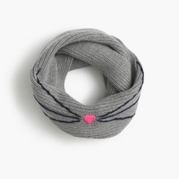 Girls' ribbed kitty whiskers infinity scarf