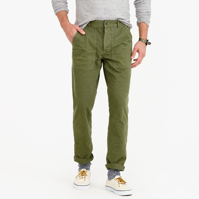 Wallace & Barnes garment-dyed herringbone military pant