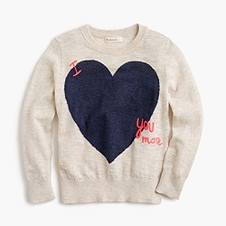 Girls' 'I love you more' sweater