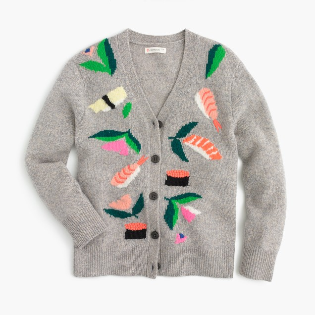 Girls' wool cardigan sweater in sushi garden
